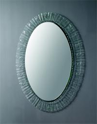 Ovalt spejl med glasramme 70x100mm