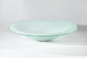 Hvid oval glashåndvask 65×48