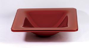 Rød kvadratisk glashåndvask