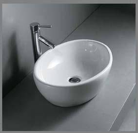 Oval porcelænshåndvask til montering på bord