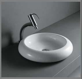 Model: 9011 Rund porcelænshåndvask til montering på bord. Uden overløb.  460x460x100