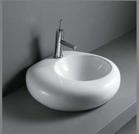 Model: 9023 Design porcelænshåndvask til montering på bord. Uden overløb.  530x530x150